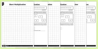 Short Multiplication Activity Sheets