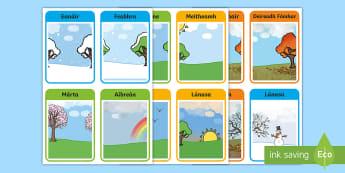 Luascártaí: Míonna na Bliana Flashcards - Flashcards, months of the year, gaeilge, Luascártaí. míonna na bliana, Irish