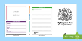 Passport to the Next Year Writing Frames - English/Polish -  passport, next year, writing frames, writing, targets, writing template, colour and write, frames f