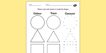 2D Shape Colour Trace and Join the Dots - colour, trace, join, 2d