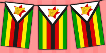 Zimbabwe Flag Display Bunting -africa, geography, ks2, ks1, culture, topic, information, display,