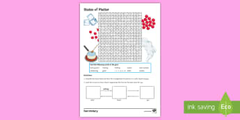 States of Matter Word Search - state symbols, boiling point, vibrates, particles, melting