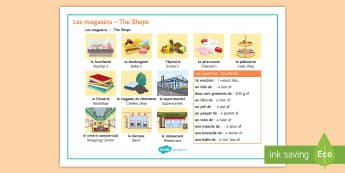 At the Shops Word Mat French - magasins, shops, quantities, quantites, shopping, town, ville, French