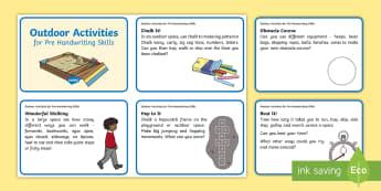 Outdoor Activities for Pre Handwriting Skills Activity Cards - Newell Handwriting Project, Handwriting, Pre writing skills, fine motor skills, gross motor skills,