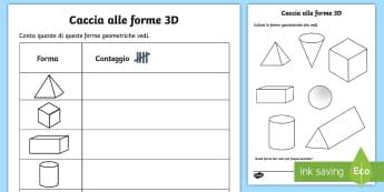 La caccia alle forme 3D Attività - forme, geometriche, 3d, tridimensionali, italiano, italian, geometria, conteggio, colora, materiale,
