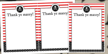 Pirate Themed Birthday Party Thank You Cards - birthdays, parties
