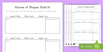 Volume of Shapes: Build It! (2) Activity - volume, cube, cubic, rectangular prism, length, height, width