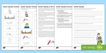 Gender Equality Worksheet / Activity Sheets - Social Justice, Gender; Equality; Feminism, worksheets