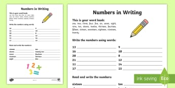 Numbers in Writing Worksheet / Activity Sheet - NI KS1 Numeracy, writing numbers in words, homework, home learning, worksheet.