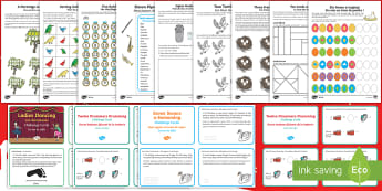 Twelve Days of Christmas Maths Activity Pack English/French - Christmas Maths, 12 days of Christmas, Christmas, addition, subtraction, grouping, sharing, word pro