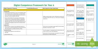 Digital Competence Framework Year 6 Planning Template