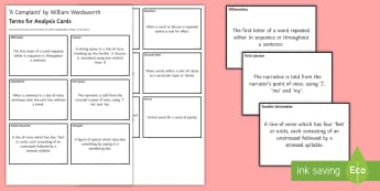 Terms for Analysis Cards to Support Teaching on 'A Complaint' by William Wordsworth  - GCSE Poetry