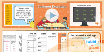 PlanIt English Y1 Term 3B W6 Common Exception Words Spelling Pack - Spellings, Year 1, tricky words, spell