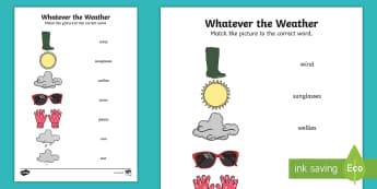Whatever the Weather Word to Picture Matching Activity Sheet - exploring my world, sun, rain, wind, snow, seasons, clothes, aistear, literacy, oral langage, readin