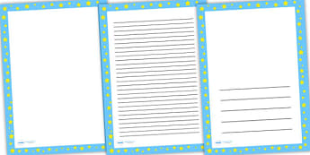 Blue with Yellow Star Page Borders - writing template, line guide