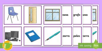 Juego: Los objetos de la clase - juego, pizarra, cuadernos, bolígrafos, material, recursos, profesores, primaria, aula, escuela, col