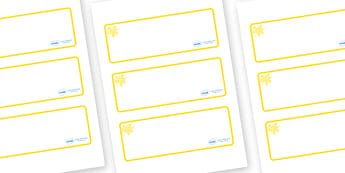 Yellow Themed Editable Drawer-Peg-Name Labels (Blank) - Themed Classroom Label Templates, Resource Labels, Name Labels, Editable Labels, Drawer Labels, Coat Peg Labels, Peg Label, KS1 Labels, Foundation Labels, Foundation Stage Labels, Teaching Label