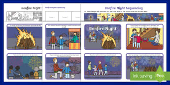 KS1 Bonfire Night Story Sequencing Activity Pack - 5th November, Bonfire, Fireworks, Sparklers, Guy Fawkes