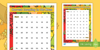 Harvest Counting in 10s Maze Activity Sheet, worksheet