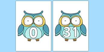 0-31 on Cute Owls - 0-30, cute owls, owl, numbers, maths, mathematics