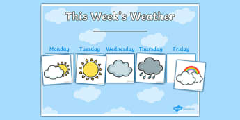 Weekly Weather Recording Chart - weather, weather calendar, weekly weather calendar, weakly weather chart, weekly weather display, this weeks weather