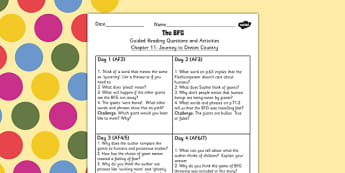 Guided Reading Questions Chapter 11 to Support Teaching on The BFG - bfg, reading, questions