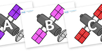 A-Z Alphabet on Satellites - A-Z, A4, display, Alphabet frieze, Display letters, Letter posters, A-Z letters, Alphabet flashcards