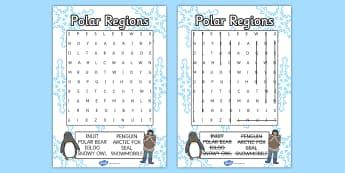 Polar Regions Wordsearch - polar, wordsearch, game, activity
