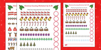 Counting at Christmas Worksheet Up to 20 - counting, christmas, worksheet, up to 20, count