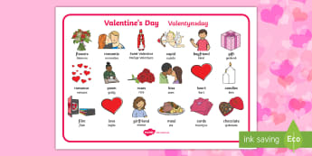 Valentine's Day Word Mat English/Afrikaans - love, February, heart, care, share, flowers, liefde, EAL