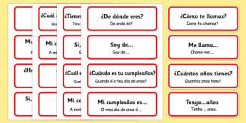Spanish Basic Phrases Word Cards Portuguese Translation - portuguese, basic phrases, word cards, word, cards, basic, phrase
