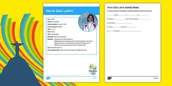 French Olympic Athletes Marie Zélia Lafont Gap Fill Activity Sheet, worksheet