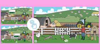 Farm Themed Oral Blending and Segmenting Phonics Picture Hotspots - Twinkl Go, twinkl go, TwinklGo, twinklgo, Phase 1 Aspect 7: Oral Blending and Segmenting, letters and sounds, phonics, farm, reading, animals