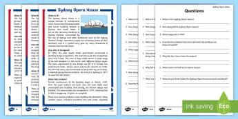 Sydney Opera House Differentiated Reading Comprehension Activity - Australian landmark, australian geography, comprehension, guided reading, australia,Australia