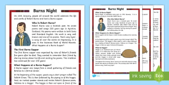 CfE First Level Burns Night Differentiated Reading Comprehension Activity - Famous Scots, Robert Burns, Scotland, Robbie Burns, Scottish celebrations,Scottish