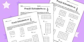 Fracții - Fișă de lucru - fracții, fișă de lucru, matematică, colorează, romanian, materiale, materiale didactice, română, romana, material, material didactic