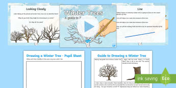Second Winter Art Lesson 1: Drawing Trees Guide Activity Pack - -Scottish - Art, Drawing, Line, Trees, Winter, branches, trunk,Scottish