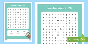 Number Words 1 to 20 Word Search - Number Words 1 to 20 Word Search - number words, number, words, 20, 1, word search,wordseaches, word