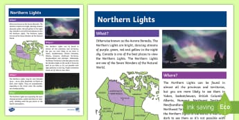 Northern Lights Fact File - Earth Day, Northern Lights, Aurora Borealis, Canada, North, Grade 4, Grade 5, Grade 6, Junior Grades