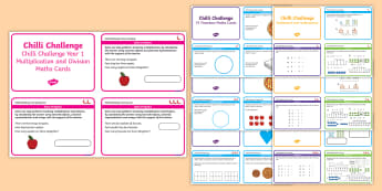 Chilli Challenge Year 1 Pack Maths Challenge Cards - KS1, Addition Subtraction Multiplication and Division, Fractions, Geometry, Measurement