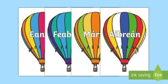 Postaer Taispeána A4: Míonna na Blianna ar Balún Aer Te - Months of the year,Hot air balloons, Gaeilge,  Míonna na blianna, balún aer te, Irish