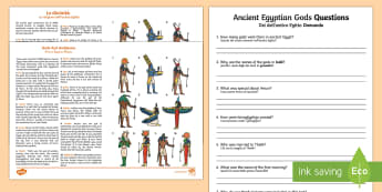 Ancient Egyptian Gods Differentiated Comprehension Activity Italian Translation - Ancient Egyptian Gods Differentiated Reading Comprehension Activity - osiris, belief, ra, goddess, a