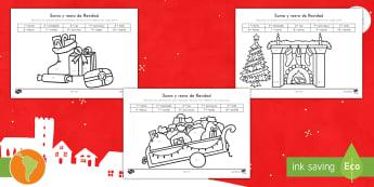 Colorear con números: La Navidad - navidad, colorear con sunmas, colorear con restas, navidad de colores, colorear