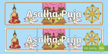 Asalha Puja Display Banner - dharma day, Buddha, buddism, thailand, full moon