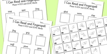 I Can Read and Fingerspell Phase 4 CCV and CCVC Words Activity, worksheet