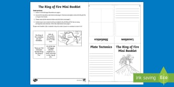 Ring of Fire Mini Booklet - Volcano, eruption, earthquake, Pacific, Krakatoa, Active Volcanoes, project, lapbook, Worksheet