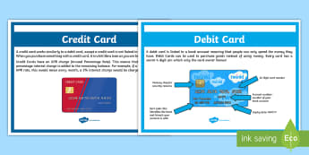 Debit and Credit Card Poster A4 Display Poster - CfE Numeracy and Mathematics, money, 2nd level, credit cards, debit cards,Scottish