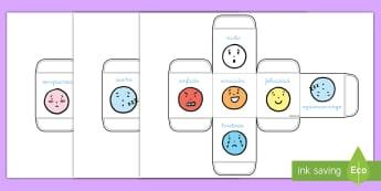 Modelo de papel: Dado de emociones  - emociones, sentimientos, todo sobre mí, yo mismo, dado, modelo de papel, manualidad, juego, dados,