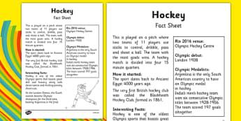 The Olympics Hockey Fact Sheet - the olympics, rio 2016, 2016 olympics, rio olympics, hockey, fact sheet