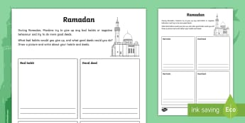 KS2 Ramadan Good Deeds and Bad Habits Worksheet / Activity Sheet - Ramadan, 26th May, good deeds, bad habits, changing behaviour, worksheet, reflect on behaviour, goal